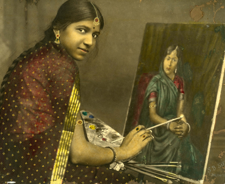 Lady Painting a Portrait; S. B. Syed Dabholl; Unknown Artist; c. 1920-40; Gelatin Silver Print and Watercolour; Image: 223 x 280 mm; Framed: 16 1/2 x 20 1/2 in; The Alkazi Collection of Photography